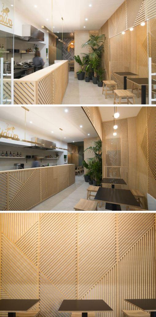 دکوراسیون رستوران با چوب