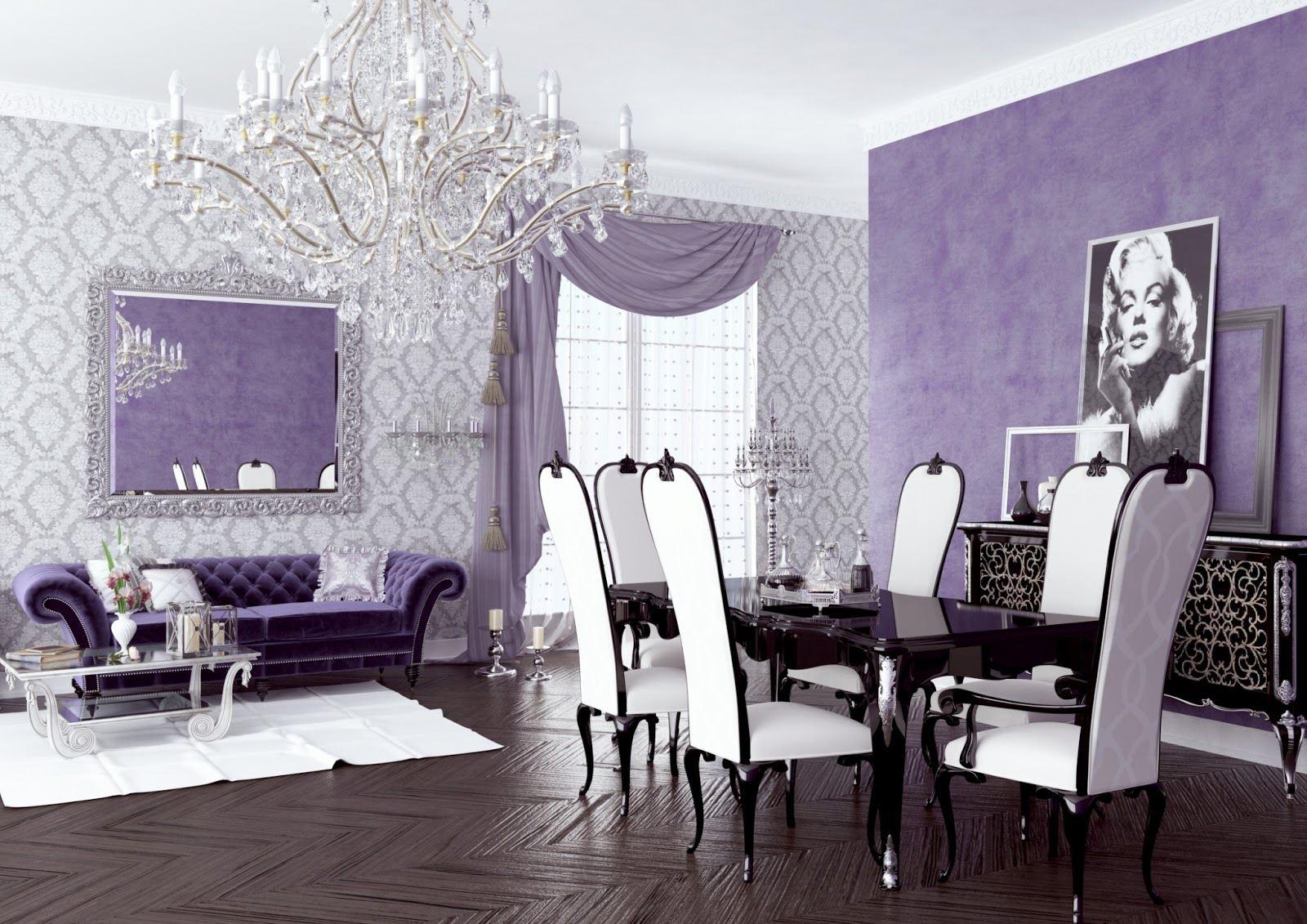 23 Purple Dining Room Designs Decorating Ideas: تاثیر روانی رنگ بنفش در دکوراسیون داخلی