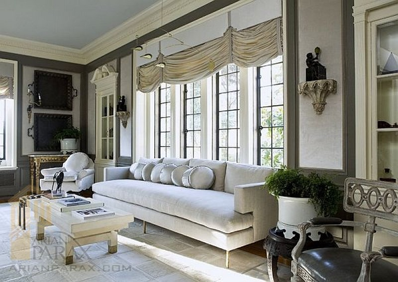اتاق نشیمن سفید خاکستری