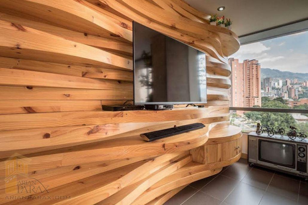 دیوار پشت تلوزیون با چوب