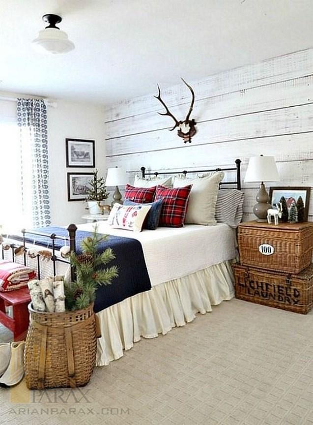 طراحی دیوار اتاق خواب با چوب