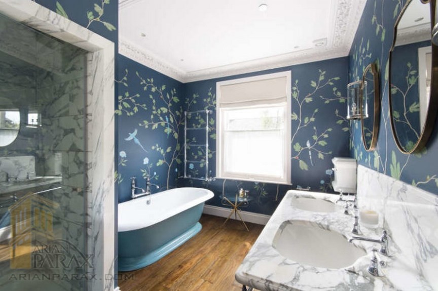 طراحی حمام با رنگ های متنوع