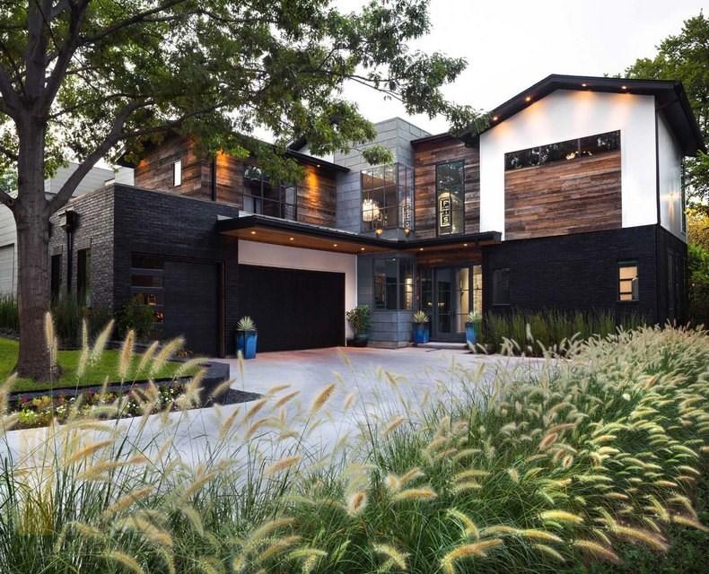 طراحی خانه ویلایی مدرن با رنگ های تیره