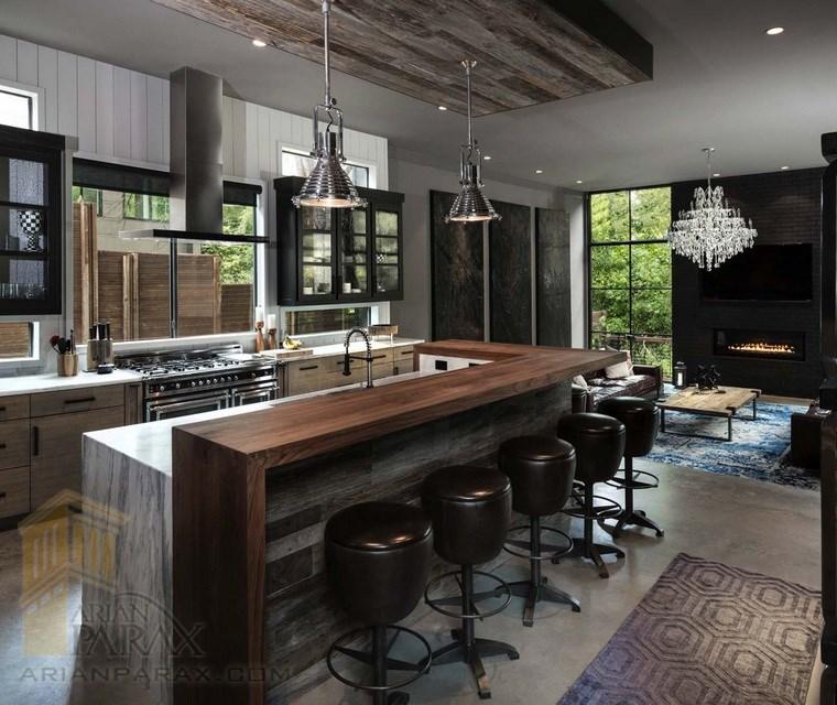 طراحی آشپزخانه مدرن با رنگ های تیره
