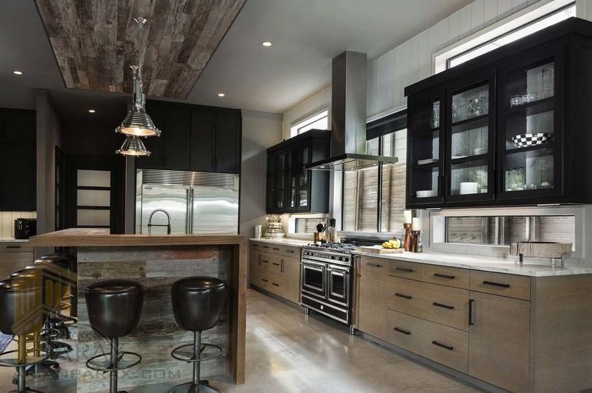 کابینت آشپز خانه کاخ سفید آمریکا طراحی خانه مدرن با رنگ های تیره در آمریکا