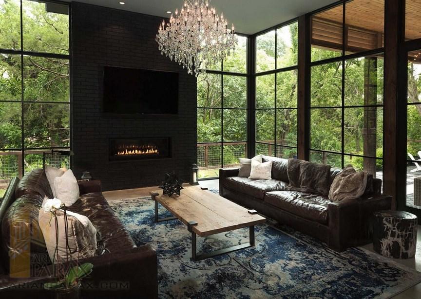 طراحی داخلی خانه مدرن با رنگ های تیره