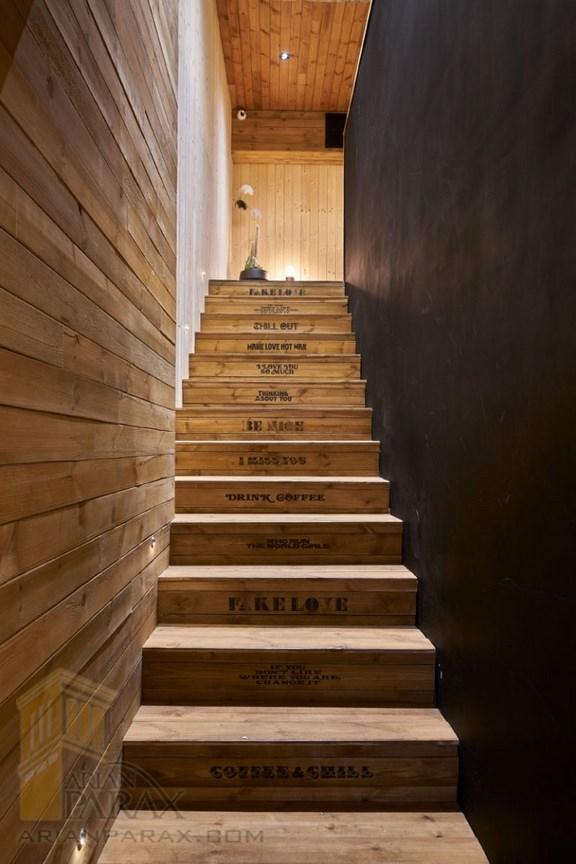 پله با چوب