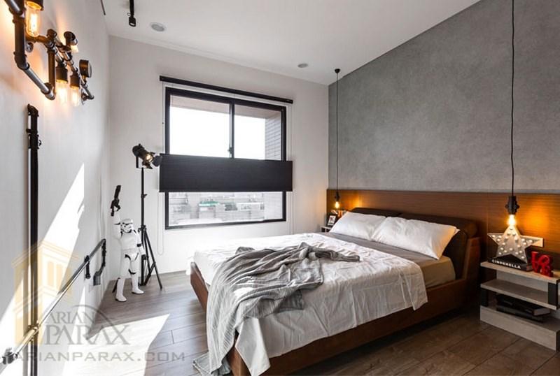 طراحی داخلی اتاق خواب با بتن