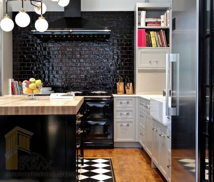 دیوار آشپزخانه مشکی