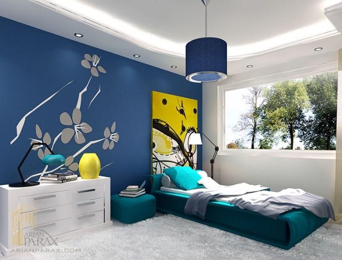 طراحی داخلی اتاق خواب با آبی